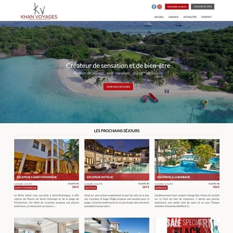 Création d'un site vitrine à Béziers - Exemple d'un site de voyage