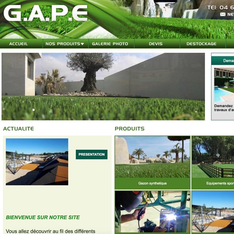Réalisation du site Internet pour GAPE, le spécialiste du gazon synthétique